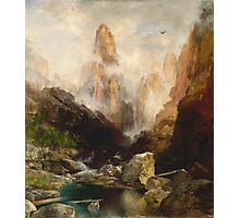Thomas Moran - Mist In Kanab Canyon, Utah. Mountains landscape: mountains, rocks, rocky nature, sky and clouds, trees, peak, forest, Canyon, hill, travel, hillside Photographic Print