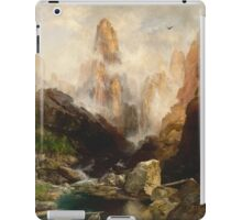 Thomas Moran - Mist In Kanab Canyon, Utah. Mountains landscape: mountains, rocks, rocky nature, sky and clouds, trees, peak, forest, Canyon, hill, travel, hillside iPad Case/Skin
