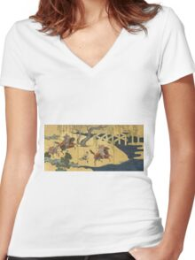 Tosa School - Folding Screen With Design Of The Battle At Uji River. Forest view: forest , horses,  samurai, exploit, warrior, river, bridge, horseman, hunting,  tradition,  sport Women's Fitted V-Neck T-Shirt