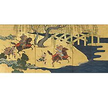 Tosa School - Folding Screen With Design Of The Battle At Uji River. Forest view: forest , horses,  samurai, exploit, warrior, river, bridge, horseman, hunting,  tradition,  sport Photographic Print