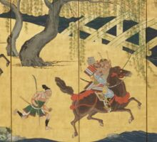 Tosa School - Folding Screen With Design Of The Battle At Uji River. Forest view: forest , horses,  samurai, exploit, warrior, river, bridge, horseman, hunting,  tradition,  sport Sticker