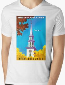 """UNITED AIRLINES"" Fly to New England Print Mens V-Neck T-Shirt"