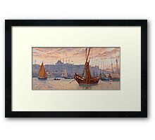 Tristram James Ellis - The Golden Horn 1890. Urban landscape: city view, streets, building, house, sea, seascape, sun clouds, construction, travel landmarks,  yachts,  holiday Framed Print