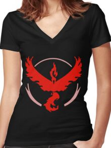 Pokemon GO - Team Valor (Red) Women's Fitted V-Neck T-Shirt