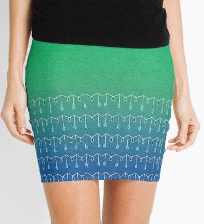 Droplets, Green and Blue Mini Skirt