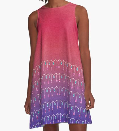 Droplets, Pink and Purple A-Line Dress