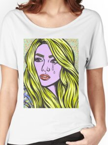 Pop Art Blonde Crying Comic Girl Women's Relaxed Fit T-Shirt