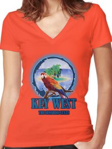 The Sunset State Of Key West Women's Fitted V-Neck T-Shirt