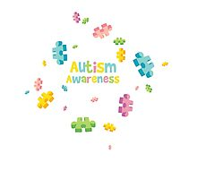 Autism Awareness - Puzzle Pieces Photographic Print