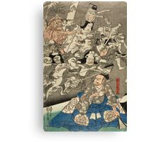 Utagawa Kuniyoshi - Warrior Minamoto Raiko And The Earth Spider. People portrait: party, woman and man, people, family, female and male, peasants, crowd, romance, women and men, city,  society Canvas Print