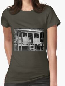 Village Life ~ Black & White Womens Fitted T-Shirt