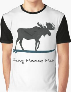 """Hang Moose"" Watercolor Moose On Surfboard Graphic T-Shirt"