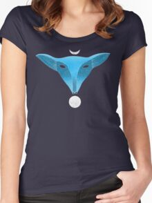 Blue fox mask with moons Women's Fitted Scoop T-Shirt