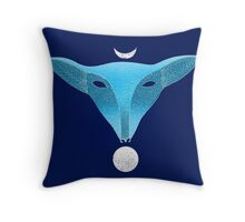 Blue fox mask with moons Throw Pillow