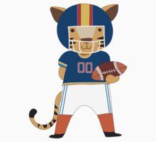 Cartoon Animals Sports Tiger Football Player One Piece - Short Sleeve