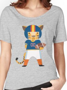 Cartoon Animals Sports Tiger Football Player Women's Relaxed Fit T-Shirt