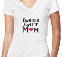 Border Collie Mom Women's Fitted V-Neck T-Shirt
