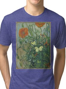 Vincent Van Gogh - Butterflies And Poppies. Still life with flowers: flowers, blossom, nature, botanical, floral flora, wonderful flower, plants, cute plant for kitchen interior, garden, vase Tri-blend T-Shirt