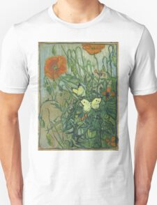 Vincent Van Gogh - Butterflies And Poppies. Still life with flowers: flowers, blossom, nature, botanical, floral flora, wonderful flower, plants, cute plant for kitchen interior, garden, vase Unisex T-Shirt