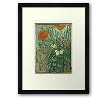 Vincent Van Gogh - Butterflies And Poppies. Still life with flowers: flowers, blossom, nature, botanical, floral flora, wonderful flower, plants, cute plant for kitchen interior, garden, vase Framed Print