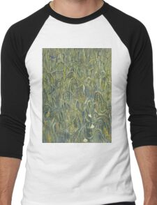 Vincent Van Gogh - Ears Of Wheat. Field landscape: field landscape, nature, village, garden, flowers, trees, sun, rustic, countryside, sky and clouds, summer Men's Baseball ¾ T-Shirt