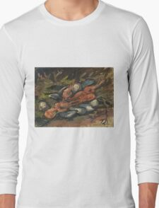 Vincent Van Gogh - Prawns And Mussels. Still life with prawns and mussels: prawns , mussels, grapes, tasty, gastronomy food, flowers, dish, cooking, kitchen, vase Long Sleeve T-Shirt