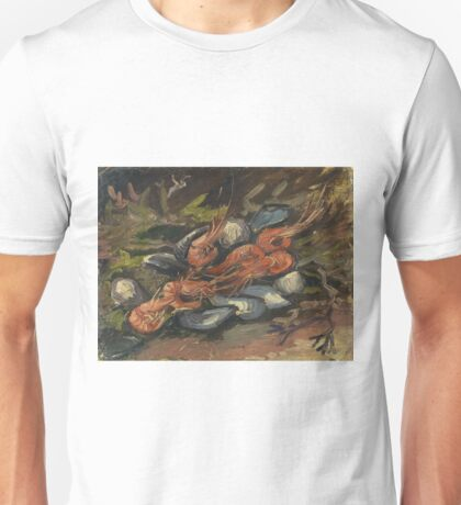 Vincent Van Gogh - Prawns And Mussels. Still life with prawns and mussels: prawns , mussels, grapes, tasty, gastronomy food, flowers, dish, cooking, kitchen, vase Unisex T-Shirt