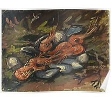 Vincent Van Gogh - Prawns And Mussels. Still life with prawns and mussels: prawns , mussels, grapes, tasty, gastronomy food, flowers, dish, cooking, kitchen, vase Poster