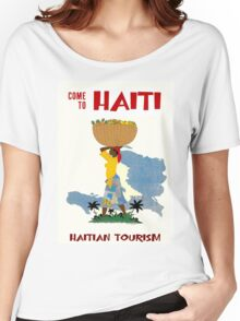 """HAITI"" Vintage Travel Advertising Print Women's Relaxed Fit T-Shirt"