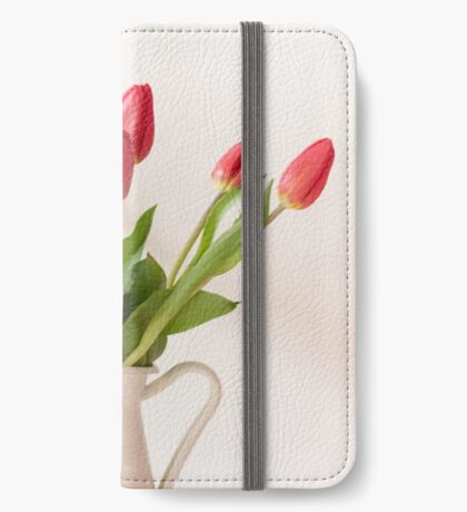 Red tulips in a white jug iPhone Wallet/Case/Skin