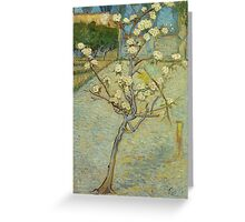 Vincent Van Gogh - Small Pear Tree In Blossom. Still life with flowers: flowers, blossom, nature, botanical, floral flora, wonderful flower, plants, cute plant for kitchen interior, garden, vase Greeting Card