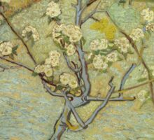 Vincent Van Gogh - Small Pear Tree In Blossom. Still life with flowers: flowers, blossom, nature, botanical, floral flora, wonderful flower, plants, cute plant for kitchen interior, garden, vase Sticker