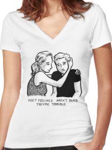 Feelings Aren't Dumb Women's Fitted V-Neck T-Shirt