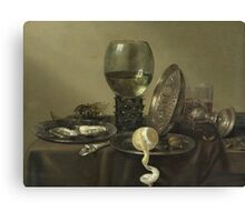 Willem Claesz Heda - Still Life With Oysters, A Rummer, A Lemon And A Silver Bowl . Still life with fruits and vegetables: Lemon, glass of wine, tasty, gastronomy food, flowers, dish, cooking, kitchen Canvas Print