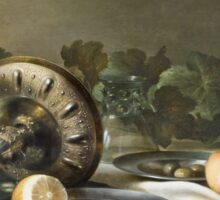 Willem Claesz Heda - Still-Life . Still life with fruits and vegetables: fruit, vegetable, glass of wine, tasty, gastronomy food, flowers, dish, cooking, kitchen, vase Sticker