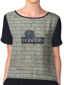 Dodgers Vintage Bicycle Shop Sign on Brick Wall Chiffon Top