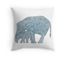 Water-Marble Elephant Throw Pillow