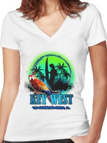 The Sunset Paradise - Key west Women's Fitted V-Neck T-Shirt