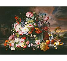 Severin Roesen - Still Life Of Flowers And Fruit With A River Landscape In The Distance. Still life with flowers: bouquet, bumblebee , carnations, peonies, roses, tulips, marigolds, garden, blossom Photographic Print