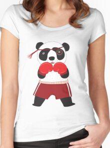 Cartoon Animals Fighting Boxing Panda Bear Women's Fitted Scoop T-Shirt