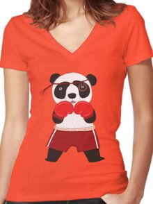Cartoon Animals Fighting Boxing Panda Bear Women's Fitted V-Neck T-Shirt