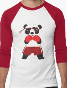 Cartoon Animals Fighting Boxing Panda Bear Men's Baseball ¾ T-Shirt