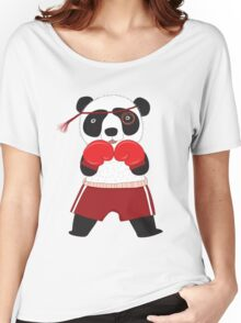 Cartoon Animals Fighting Boxing Panda Bear Women's Relaxed Fit T-Shirt