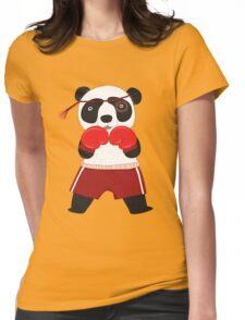 Cartoon Animals Fighting Boxing Panda Bear Womens Fitted T-Shirt