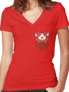 Pocket Jibanyan Women's Fitted V-Neck T-Shirt