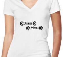 Dobie Mom Women's Fitted V-Neck T-Shirt