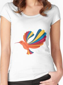 Cute and Beautiful Rainbow hummingbird Women's Fitted Scoop T-Shirt