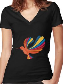 Bird the hummingbird in rainbow Women's Fitted V-Neck T-Shirt