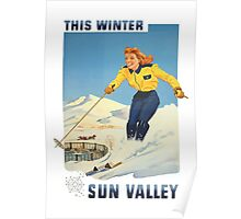 This Winter Sun Valley Idaho Vintage Travel Poster Poster
