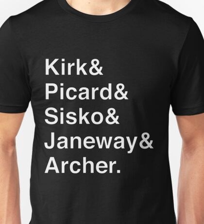 Star Trek Captains Helvetica Name List Unisex T-Shirt